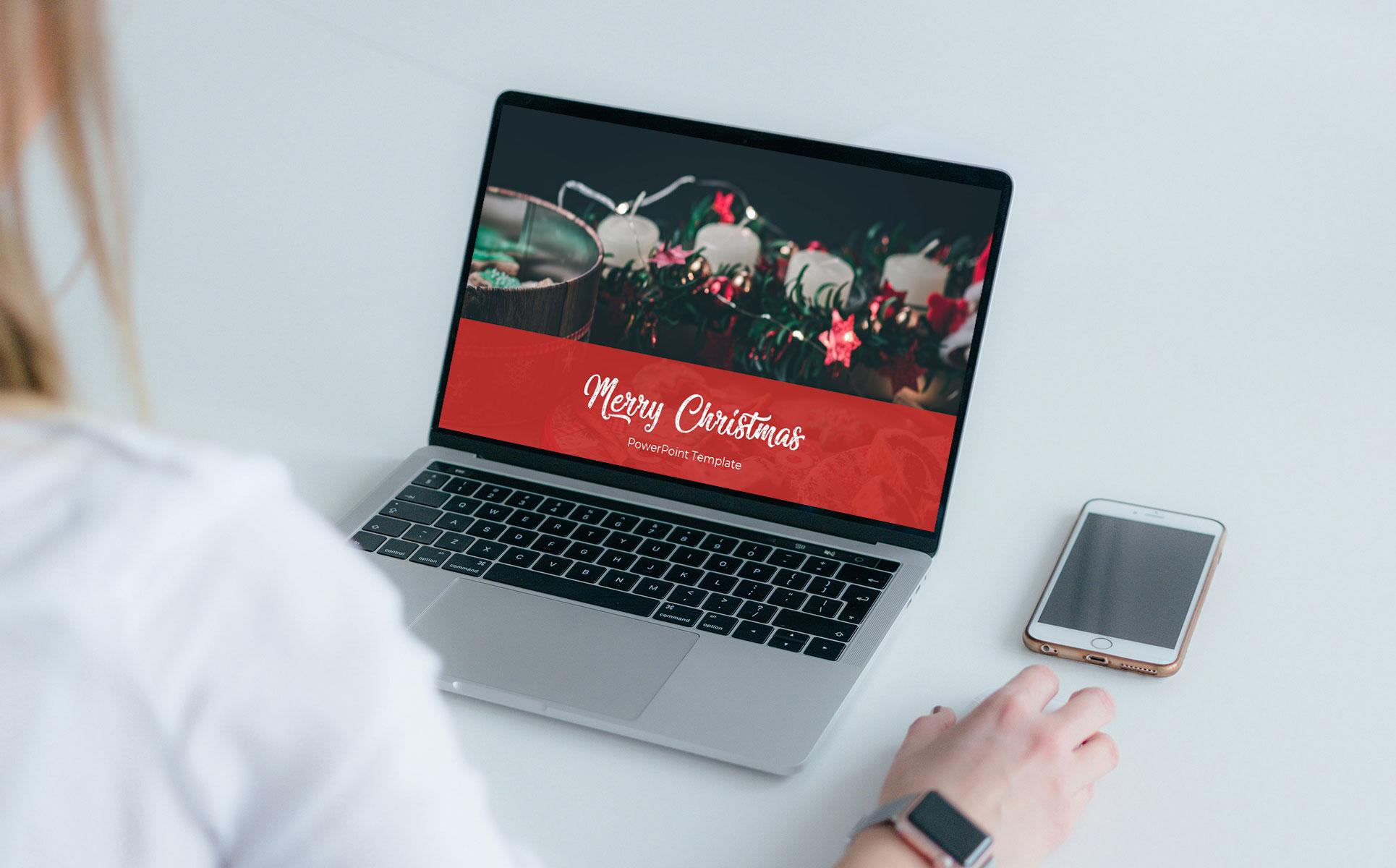 Merry Christmas Powerpoint Presentation Template mockup laptop.