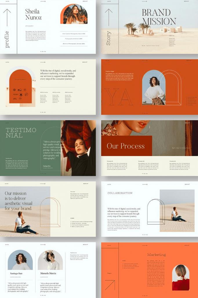 AILEYA - Powerpoint Media Kit by MasterBundles Pinterest Collage Image.