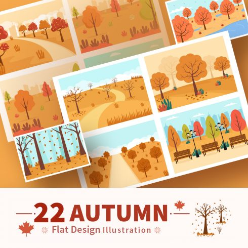 22 Autumn Background Landing Page Illustrations preview images.