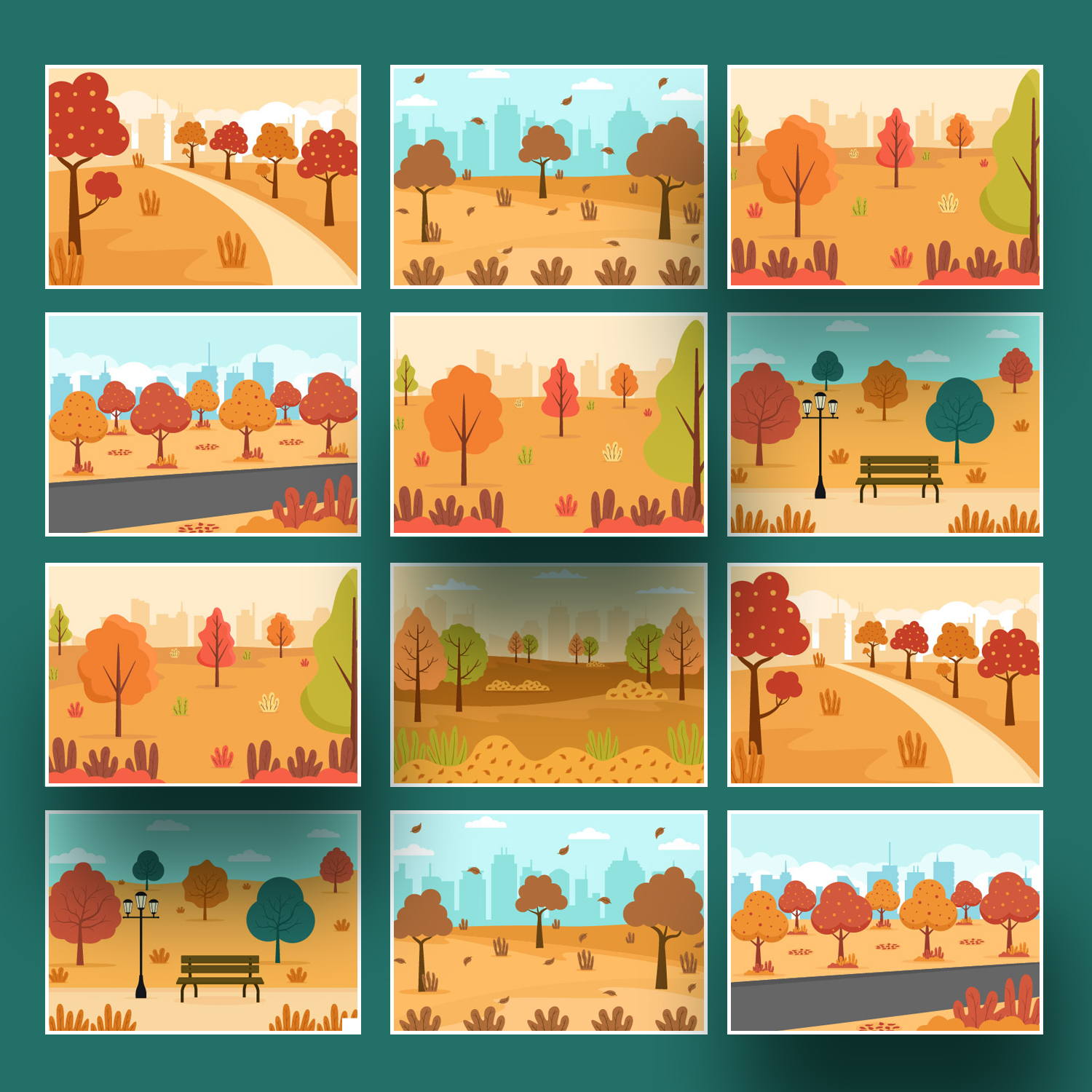 22 Autumn Background Landing Page Illustrations cover images.