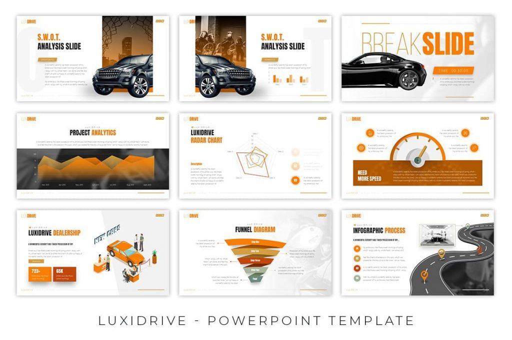 Infographic slides for Luxidrive Automotive Presentation.