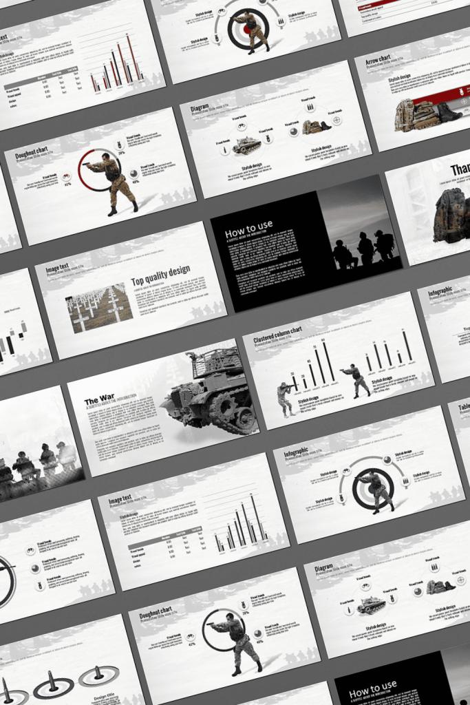 The War Powerpoint Presentation Template by MasterBundles Pinterest Collage Image.