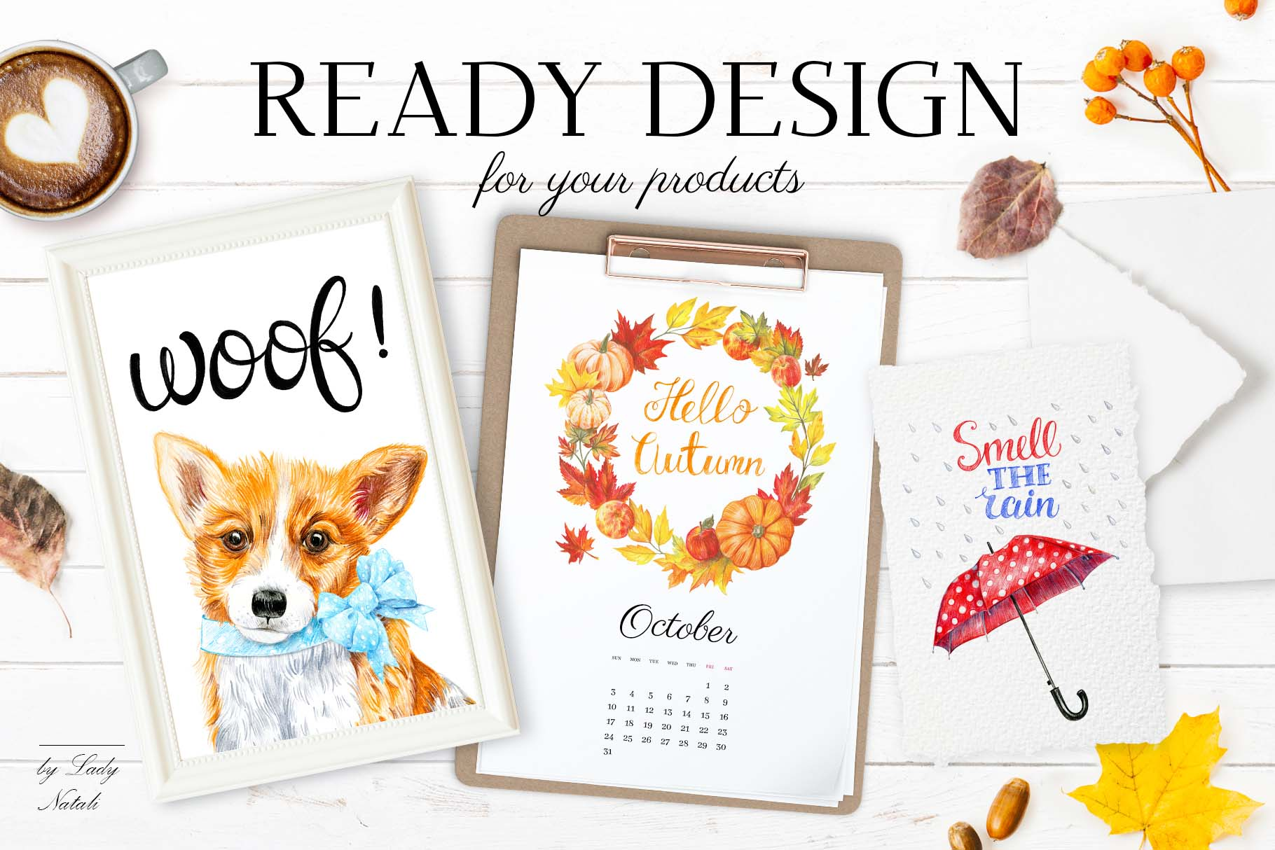 ready to use autumn illustrations.