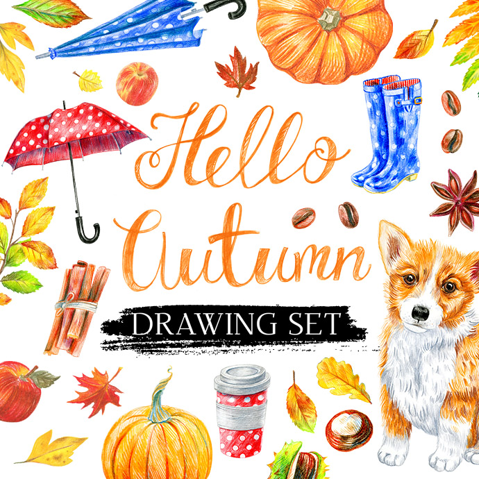 Hello Autumn: 70 Autumn Illustrations in Colored Pencil cover images.