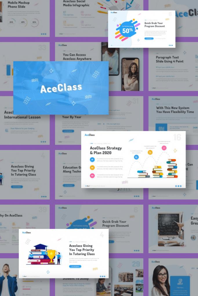 AceClass Education Keynote Template by MasterBundles Pinterest Collage Image.