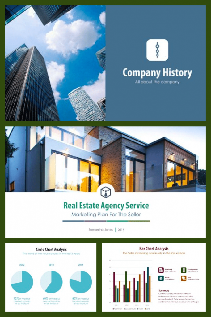 Real Estate PowerPoint Template V.1 by MasterBundles Pinterest Collage Image.