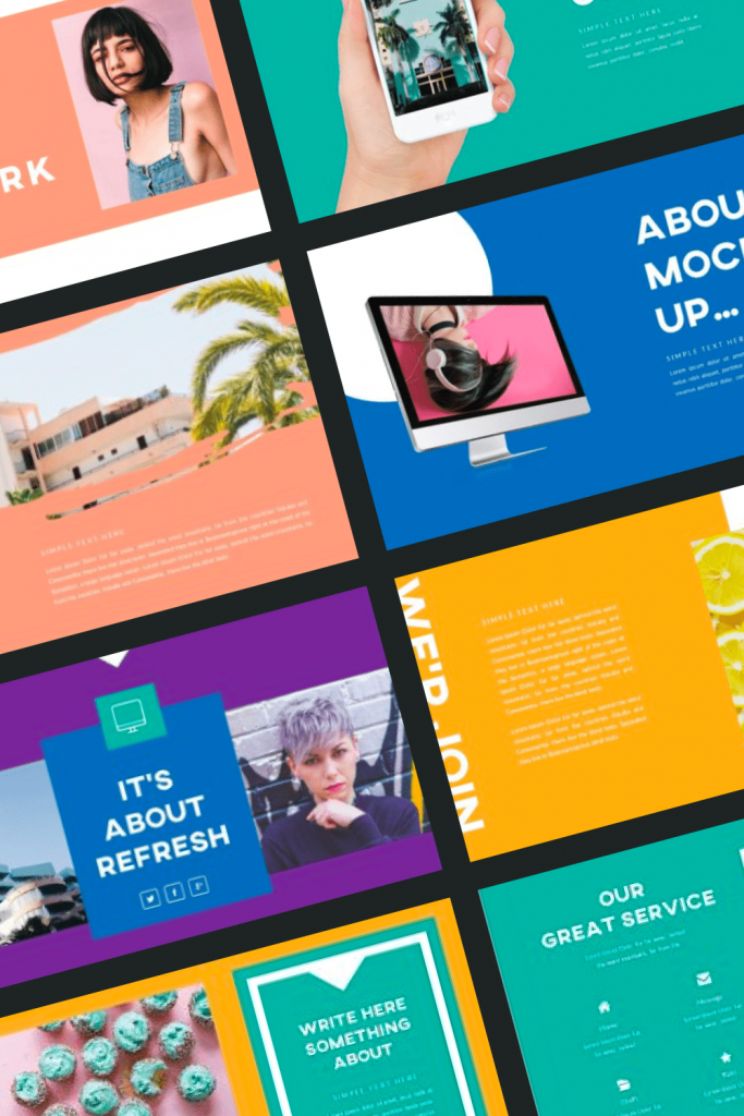 Refresh Powerpoint Template by MasterBundles Pinterest Collage Image.