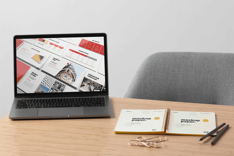 Real Estate Google Slides Template by MasterBundles notebook preview mockup image.