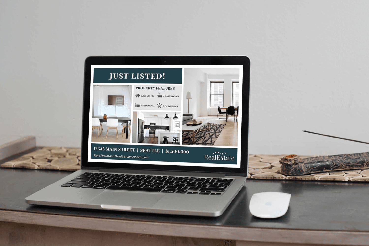 Laptop option of the Real Estate Postcard Template No.1 by MasterBundles.