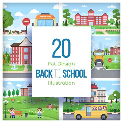20 Back To School and Cute Bus Illustrations preview image.