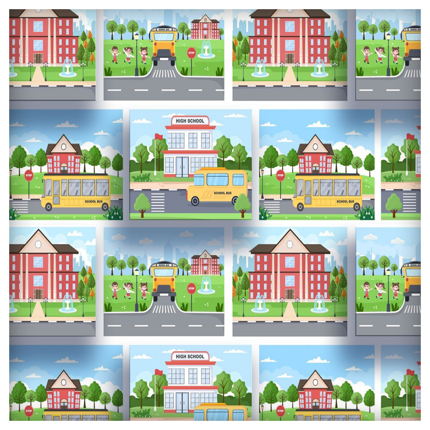 20 Back To School and Cute Bus Illustrations cover image.