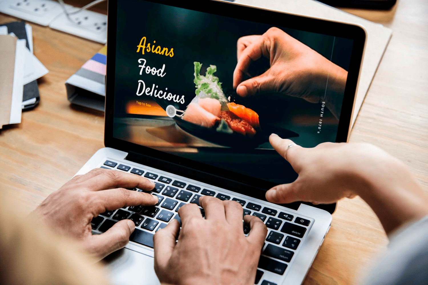 Asians Food - Food PowerPoint by MasterBundles notebook preview mockup image.