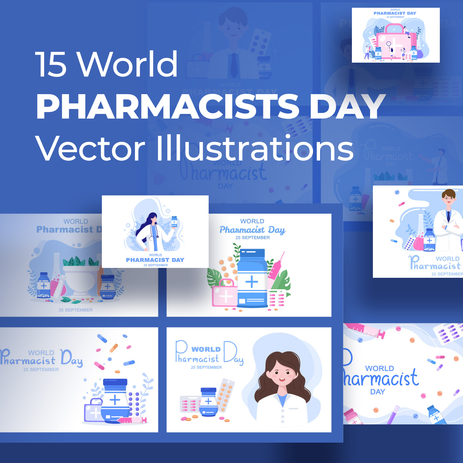 15 World Pharmacists Day Vector Illustrations preview image.