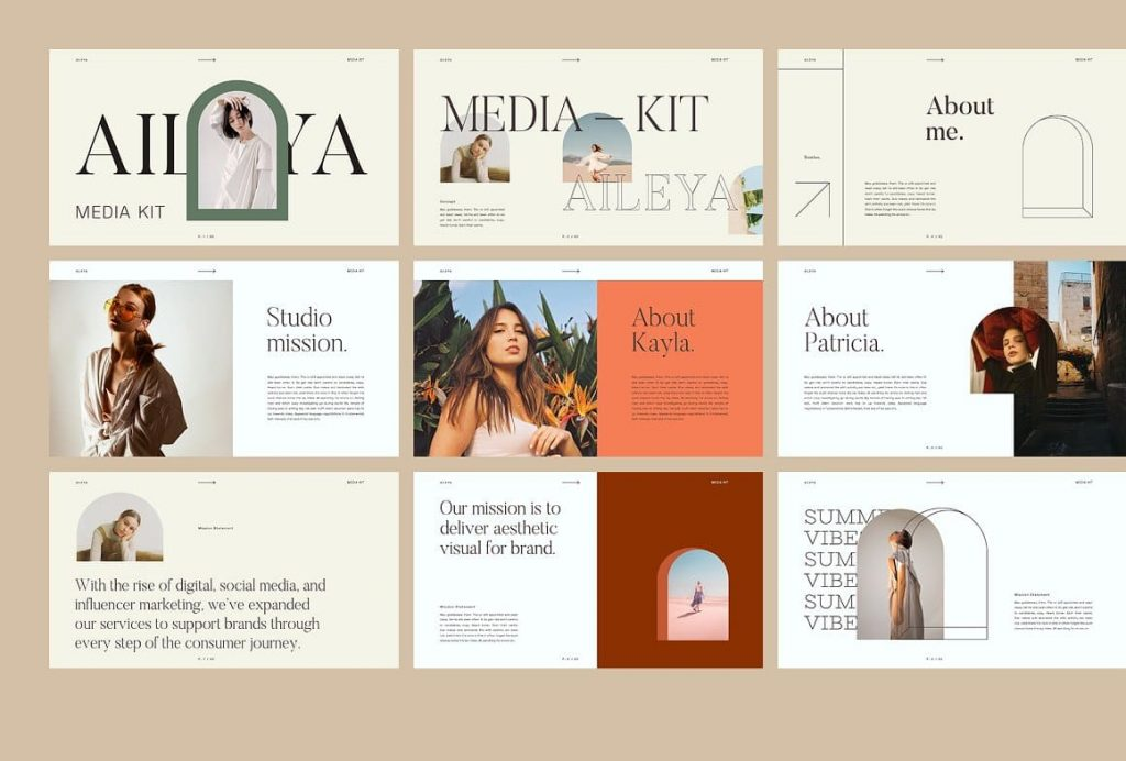 Lots of AILEYA layout options - Powerpoint Media Kit.