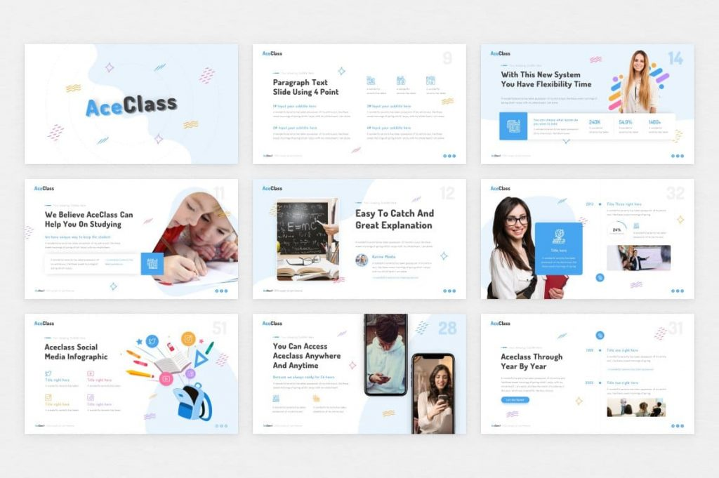 Drag and Drop Image AceClass Education Keynote Template.