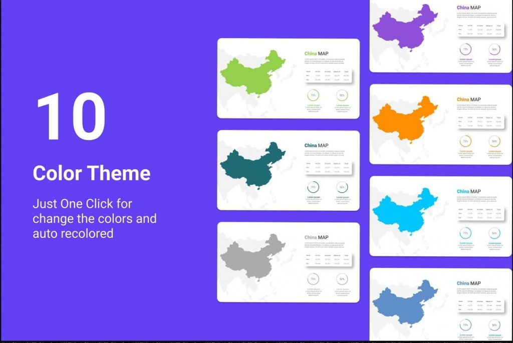 10 color themes Asia Maps PPTX Presentation Template.