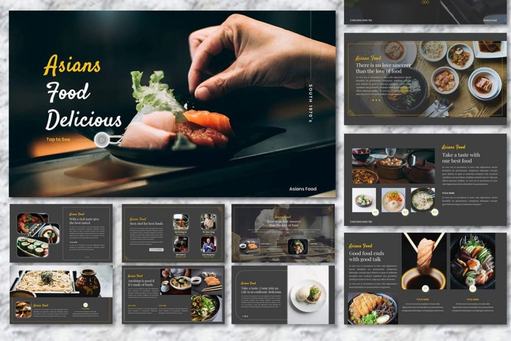Cover of Asians Food presentation - Food PowerPoint.