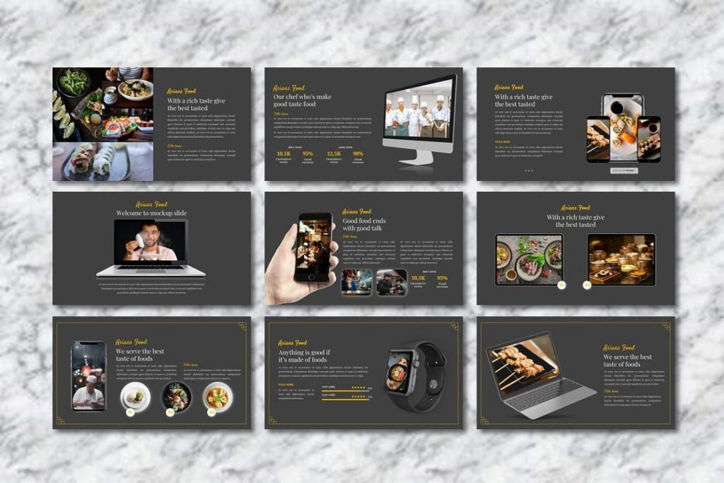 Mockups for Asians Food - Food PowerPoint devices.