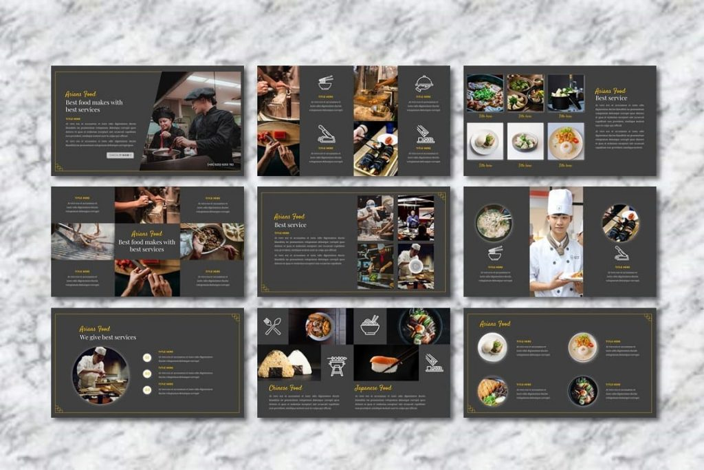 Unique Asians Food - Food PowerPoint layouts.