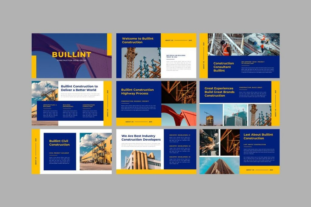Preview of all BUILLINT Keynote Template slides.