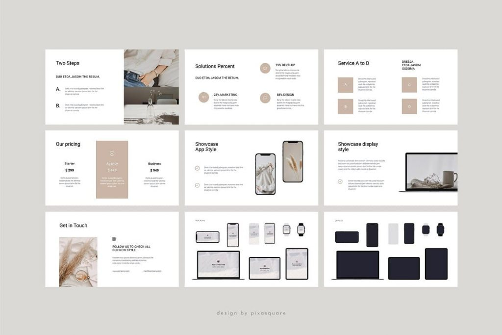 Slides with Mockups for Devices COSA - Keynote Style Template.