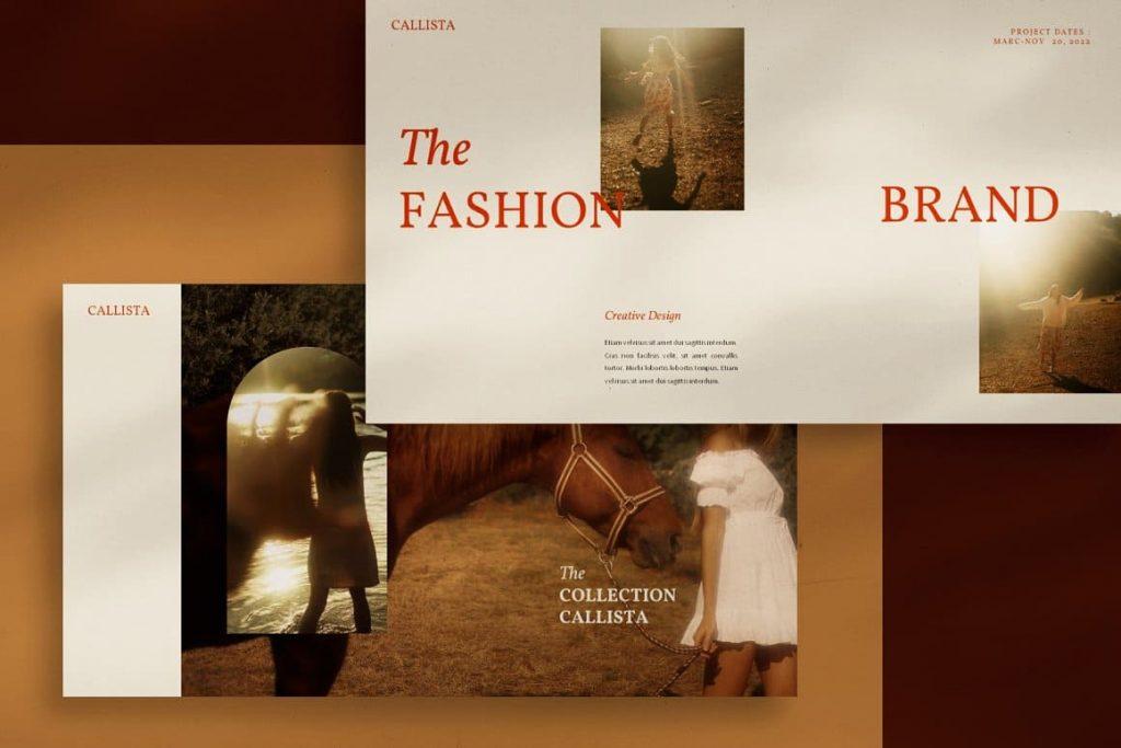 Sample slide Fashion Brand Calista Googleslide Template.