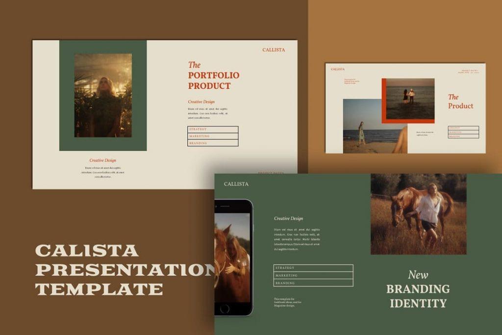 Slides Portfolio & Products Calista Googleslide Template.
