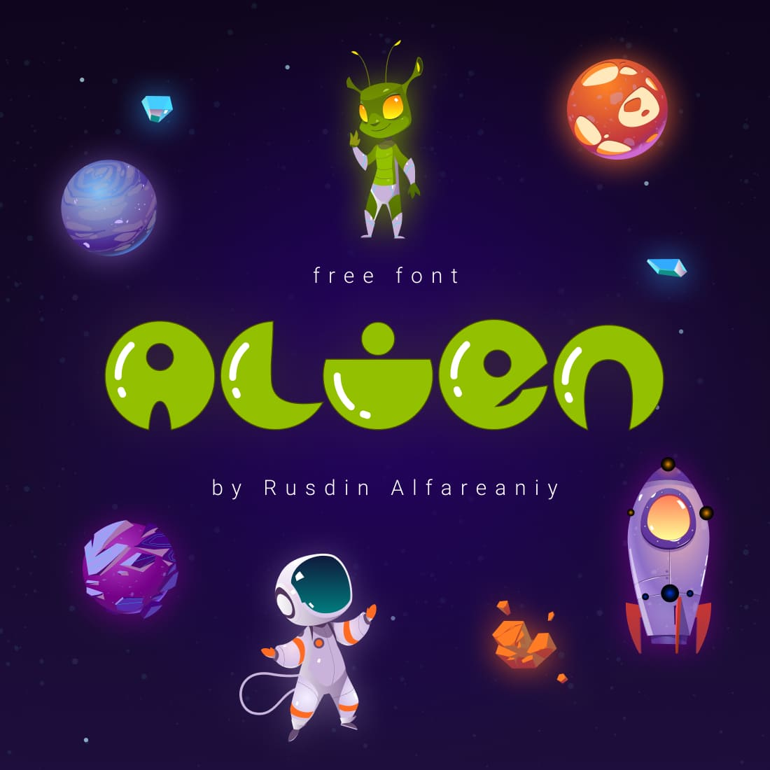 Colorful Free Alien Font Preview Cover.