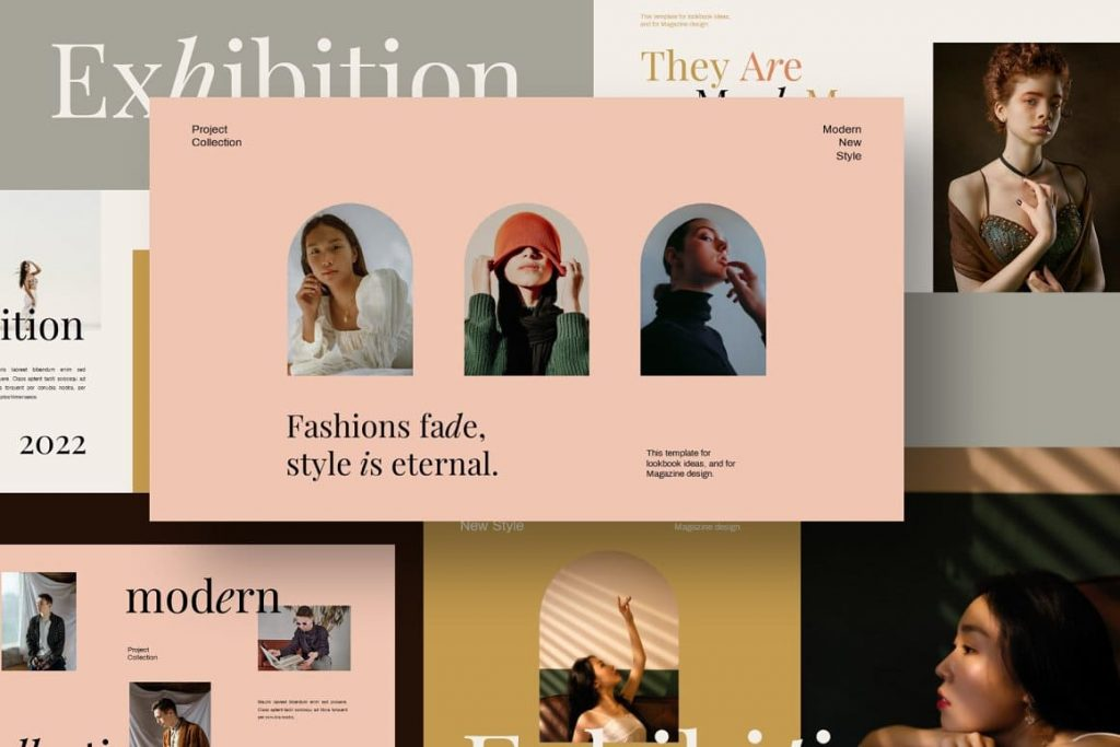 Free Font Used Exhibition Keynote Template.