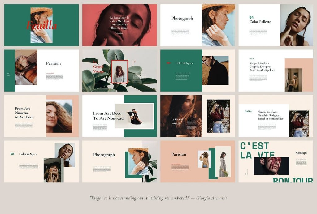 Many Variations of Layout and Text FEUILLA - Powerpoint Template.