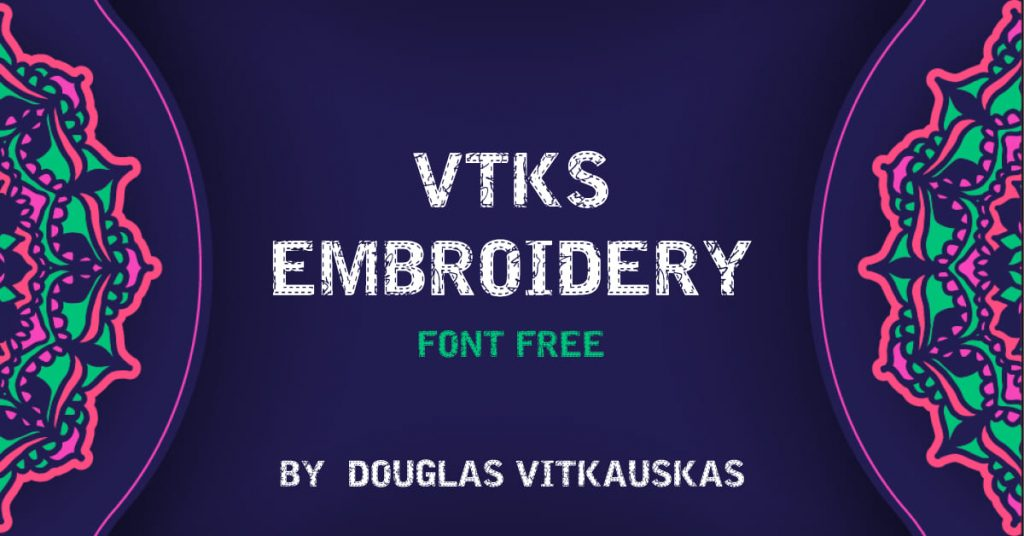 MasterBundles Free Embroidery Font Colorful Facebook Collage Image.