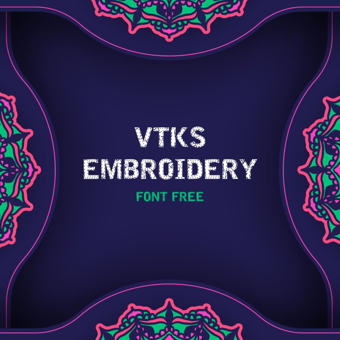Free Embroidery Font Main Cover by MasterBundles.