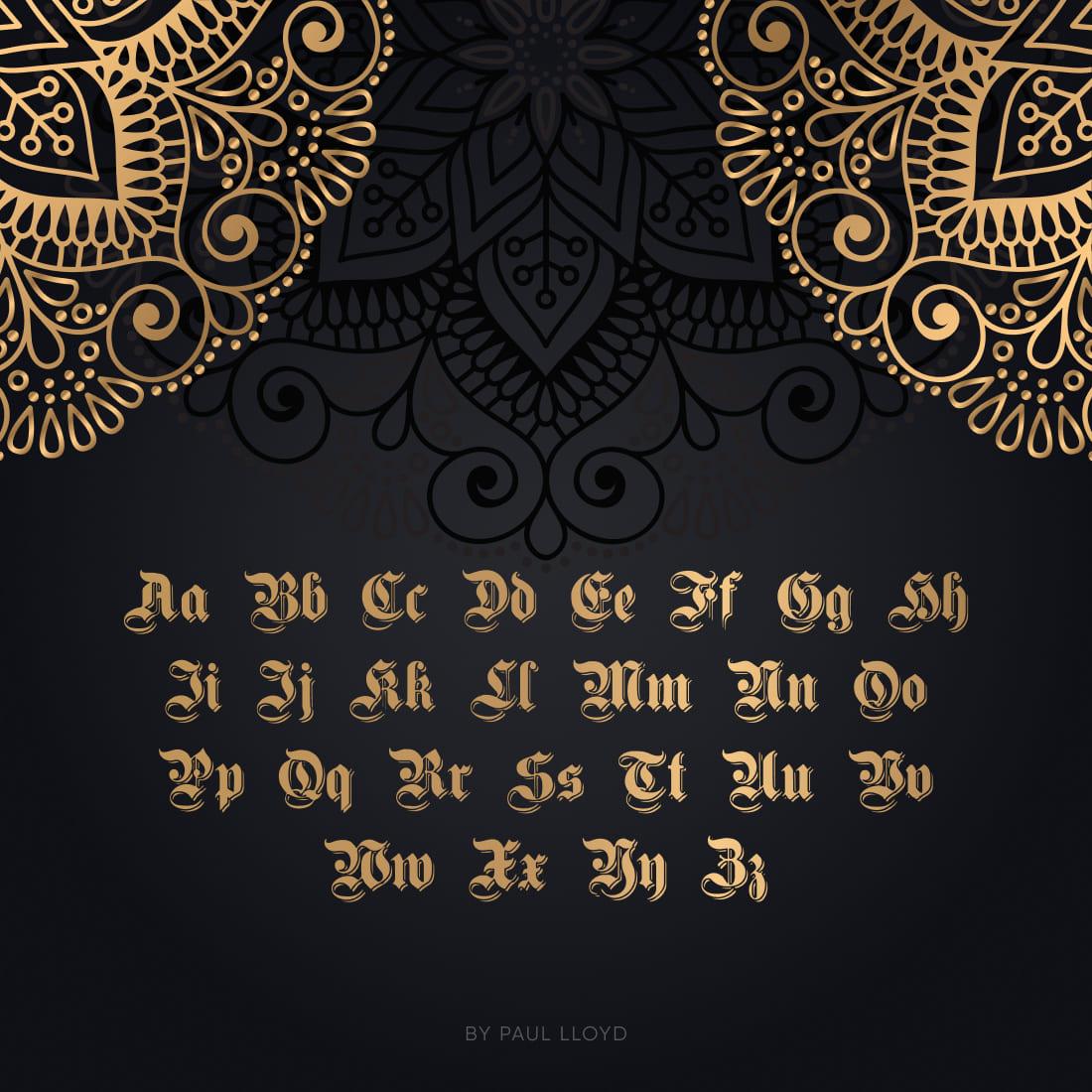 MasterBundles Free Germanic Font Cover with Alphabet.