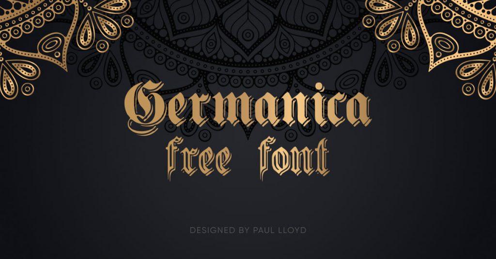 MasterBundles Free Germanic Font Facebook Collage Image.