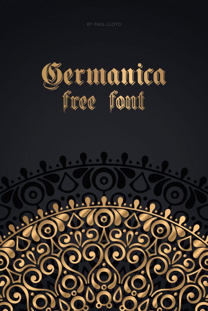MasterBundles Free Germanic Font Pinterest Black and Gold Preview.