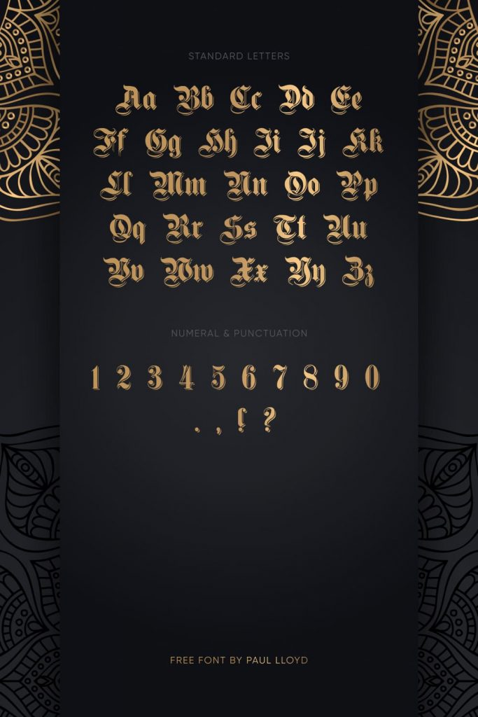 Free Germanic Font Standart Letters and Numeral Pinterest Preview.