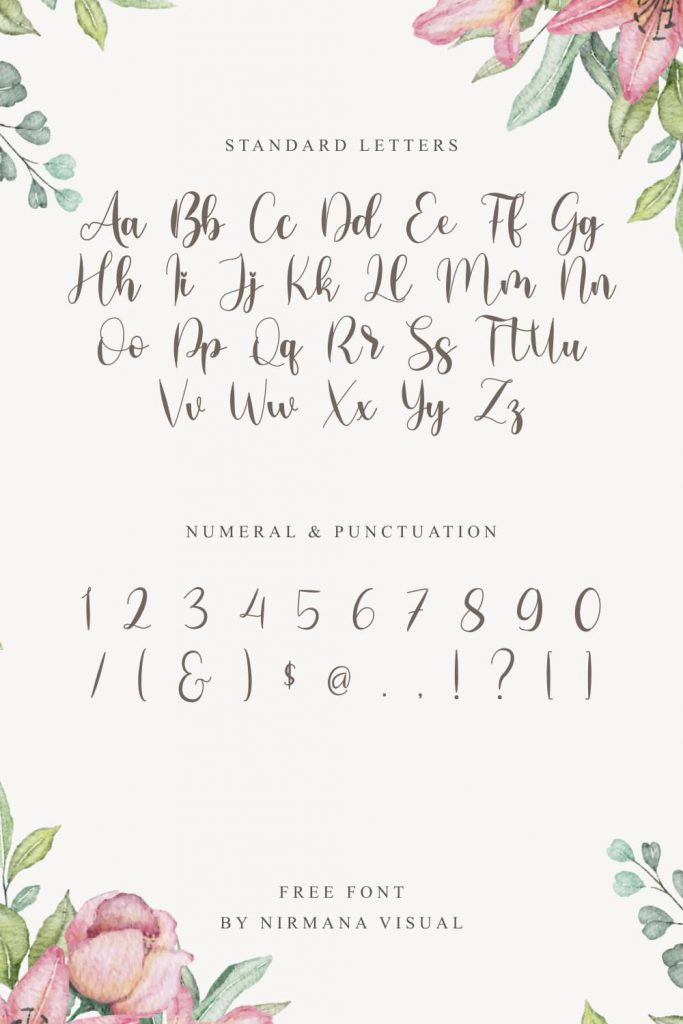 Pinterest Preview with Free Girly Font Letters and Numeral.