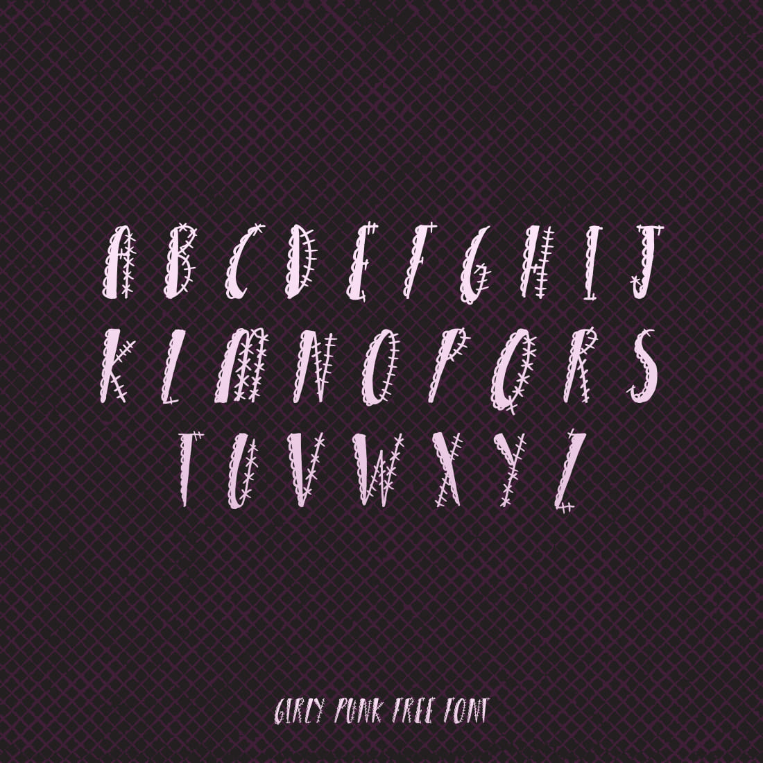 Free Girly Punk Font Cover with Alphabet.