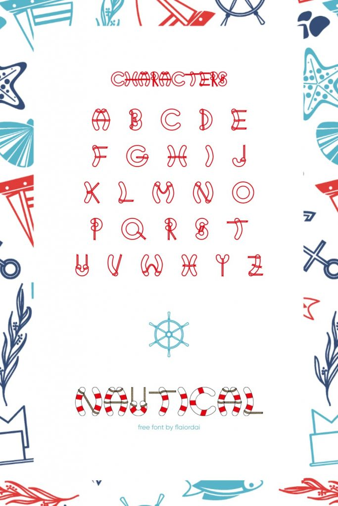 Free Nautical Font Pinterest Collage Image with Character.