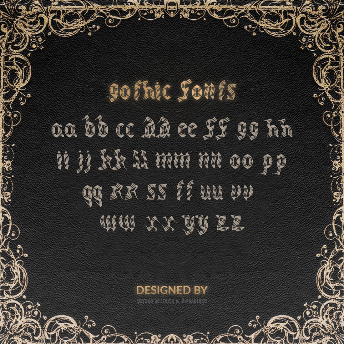 Medieval Font Free Cover with Alphabet.