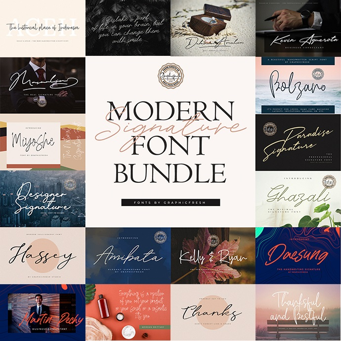 Modern Signature Font Bundle cover image.