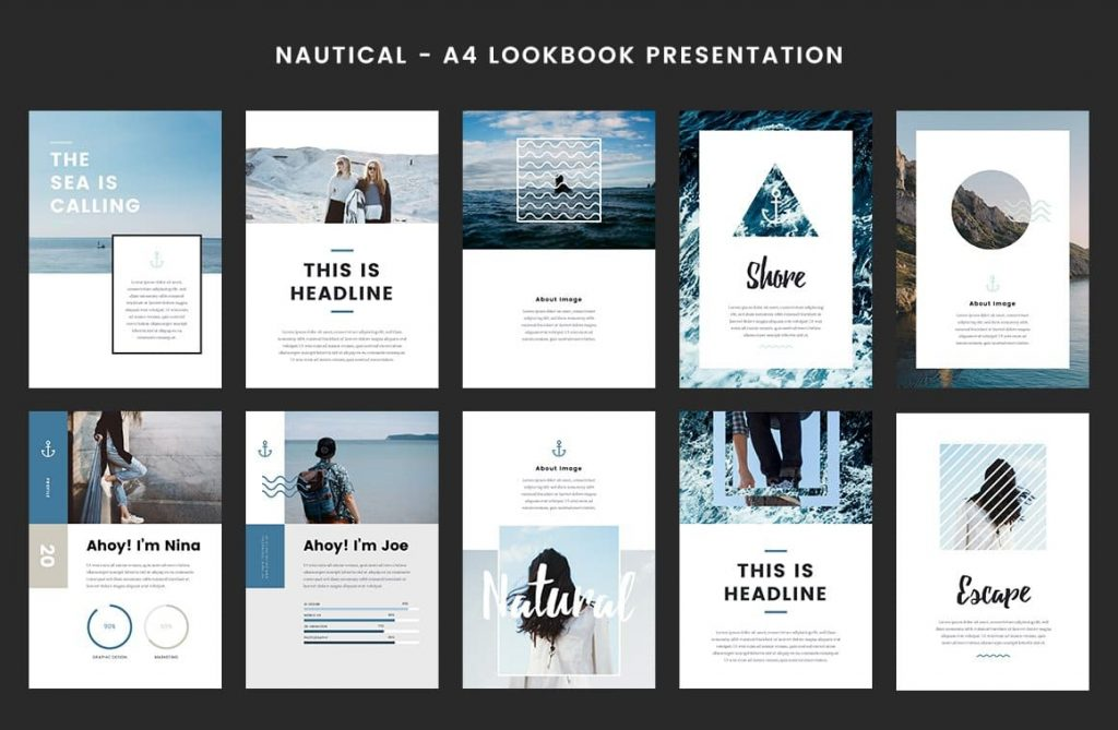 Nautical - A4 Printable PowerPoint with Nautical Design.