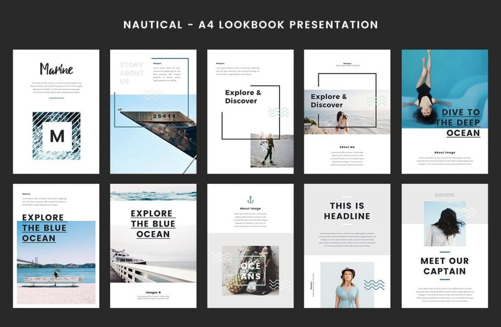 30+ Well-Designed Nautical Slides - A4 Printable PowerPoint.