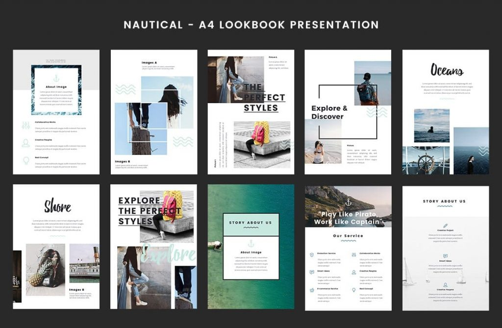 Lookbook Nautical Layout - A4 Printable PowerPoint.