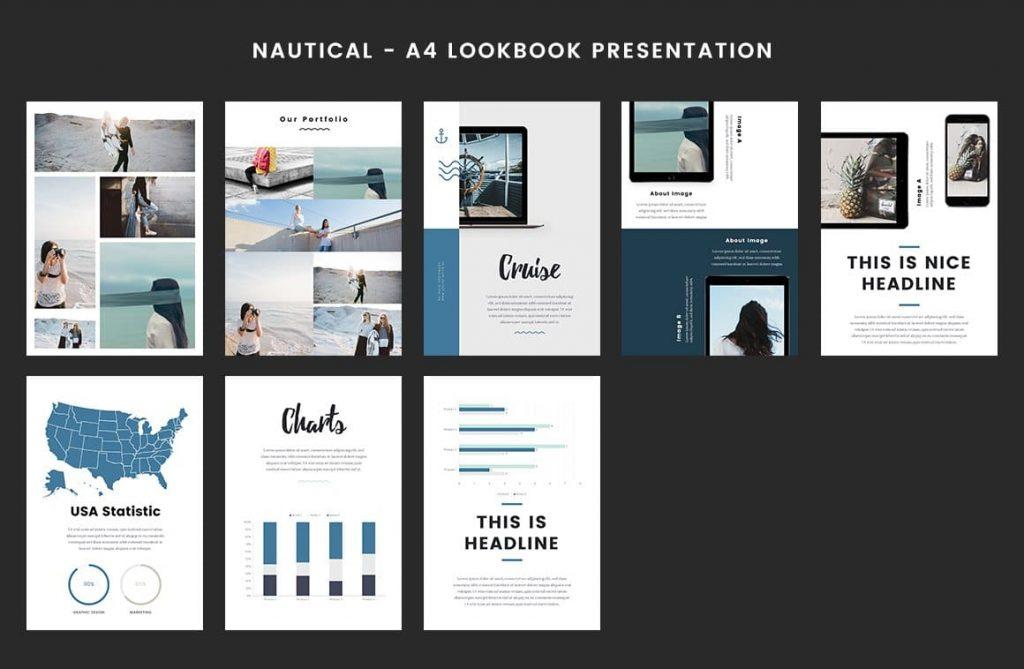 Easily Customizable Nautical - A4 Printable PowerPoint.