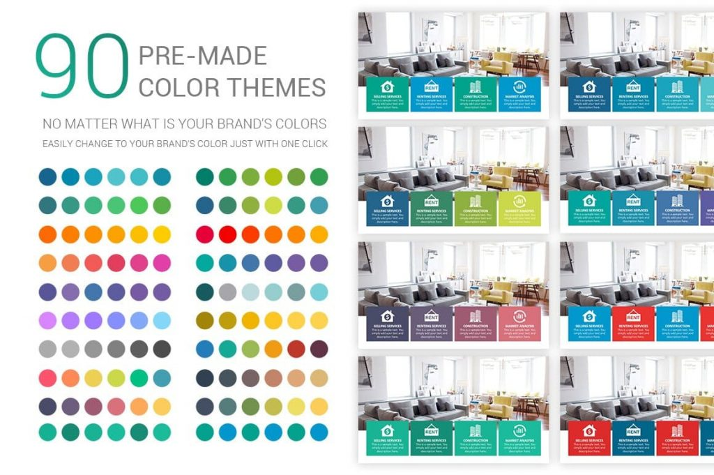 90 Stunning Premade Theme colors Real Estate PowerPoint Template.