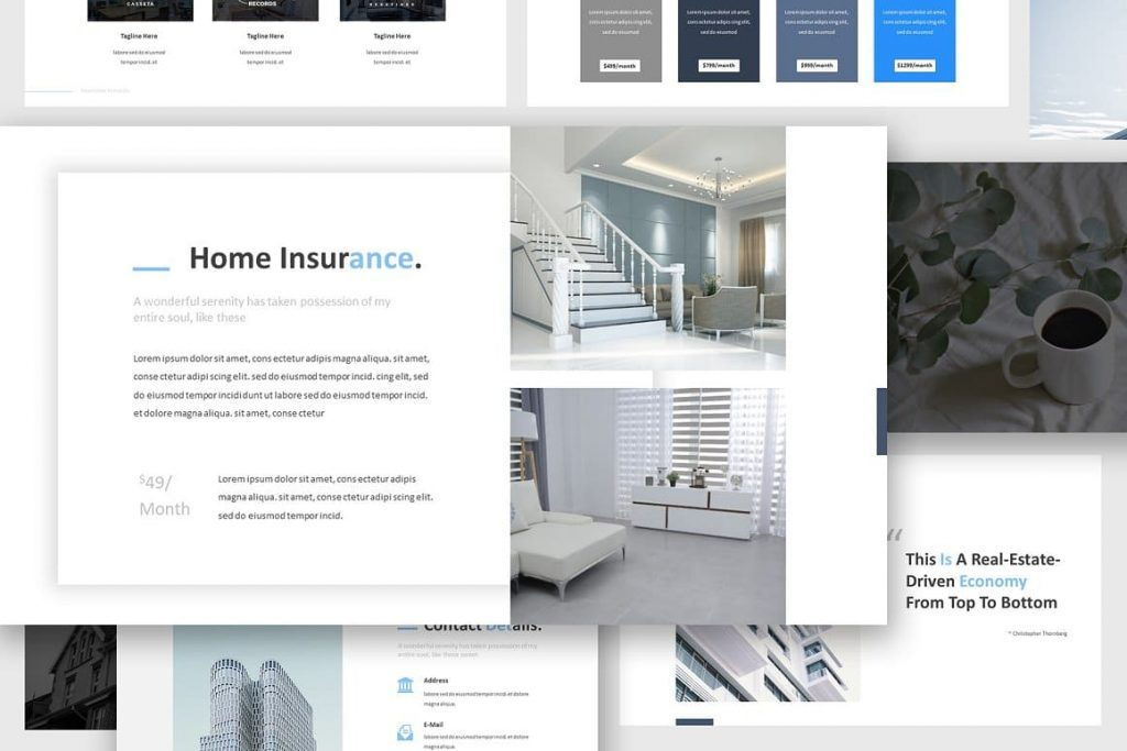 Content Slides Real Estate Powerpoint Template.