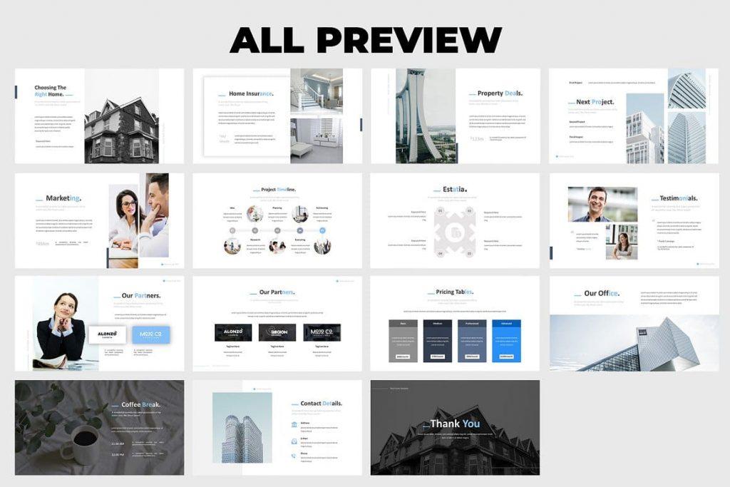 30+ Unique Creative Slides Real Estate Powerpoint Template.