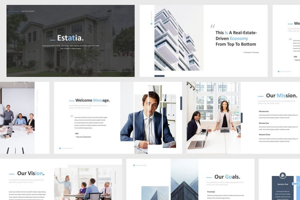 Resizable Vector Elements Real Estate Powerpoint Template.