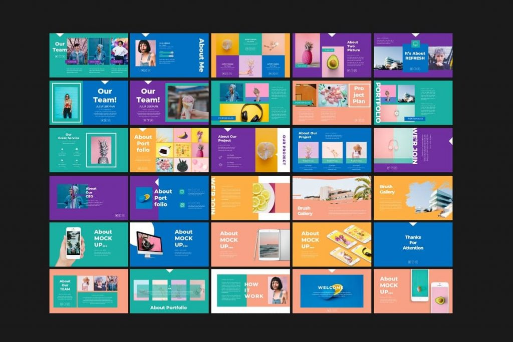 Preview of all Refresh Powerpoint Template slides.